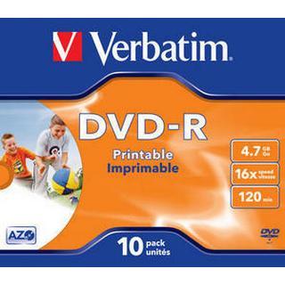 Verbatim DVD-R 4.7GB 16x Jewelcase 10-Pack Wide Inkjet