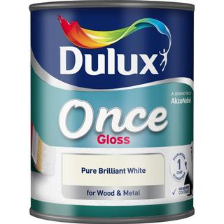 Dulux Once Gloss Wood Paint, Metal Paint White 0.75L