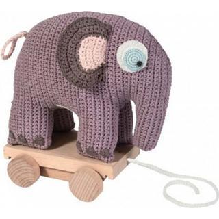 Sebra Crochet Pull Along Toy Elephant Vintage Rose