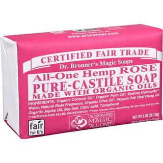 Dr. Bronners Pure Castile Bar Soap Rose 140g