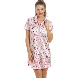 Camille Luxurious Knee Length Satin Nightshirt - Pink/Red