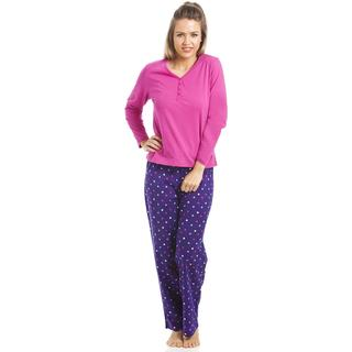 Camille Full Lenght Top & Pyjama Set - Pink/Purple