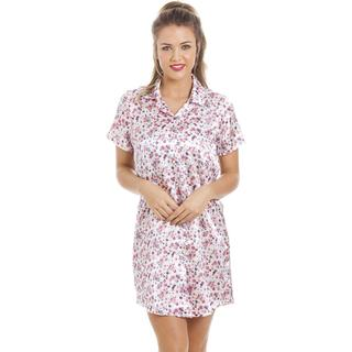 Camille Luxurious Knee Length Satin Nightshirt - Floral Print Ivory