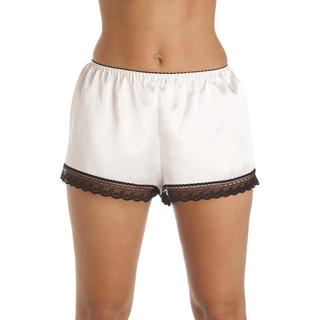 Camille Luxury Satin French Knicker Shorts - White