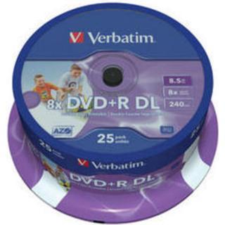 Verbatim DVD+R 8.5GB 8x Spindle 25-Pack Inkjet