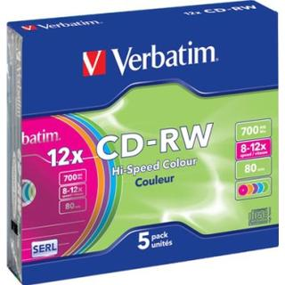 Verbatim CD-RW Colour 700MB 12x Slimcase 5-Pack