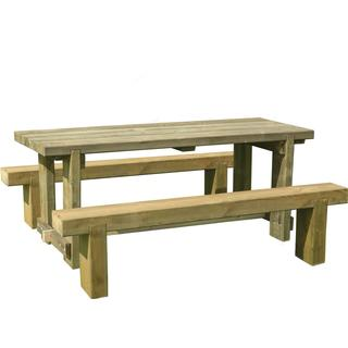Forest Garden Sleeper Bench incl. Refectory Table 1.8m