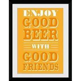 GB Eye Good Beer Good Friends 30x40cm Framed art