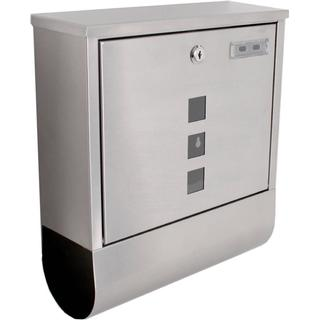 tectake Stainless steel mailbox with newspaper tube type 2