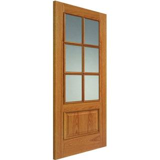 JB Kind Royale 12-6VM Oak Pre-finished Interior Door Clear Glass (76.2x198.1cm)