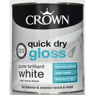 Crown Quick Dry Gloss Wood Paint, Metal Paint White 0.75L