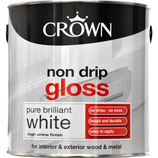 Crown Non Drip Gloss Wood Paint, Metal Paint White 2.5L
