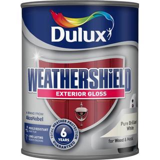 Dulux Weathershield Exterior Wood Paint, Metal Paint White 0.75L