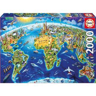 Educa World Landmarks Globe 2000 Pieces