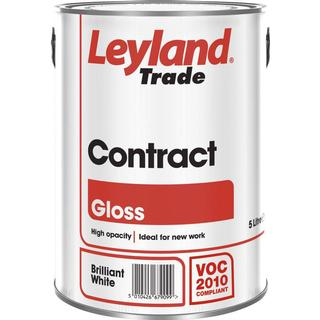 Leyland Trade Contract Gloss Wood Paint, Metal Paint White 2.5L