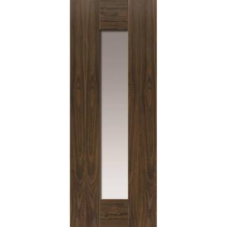JB Kind Axis Walnut Glazed Pre-finished Interior Door Clear Glass (83.8x198.1cm)