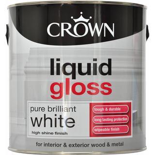 Crown Liquid Gloss Wood Paint, Metal Paint White 2.5L