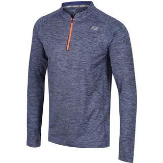 Zone3 Soft Touch Tech Long Sleeve T-shirt Men - Marl Petrol/Neon Orange