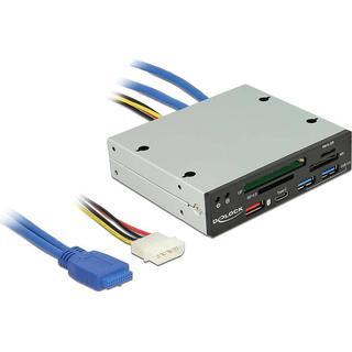 DeLock 3.5'' USB 3.0 Multi-Card Reader with USB Hub/USB-C (91657)
