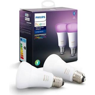Philips Hue White and Color Ambiance LED Lamps 9W E27 Control with Voice 2-pack