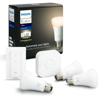 Philips Hue White LED Lamps 9W E27 Control with Voice 3-pack
