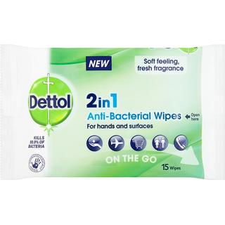 Dettol 2in1 Hands & Surfaces Anti-Bacterial Wipes 15-pack