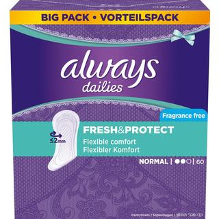 Always Dailies Fresh & Protect Fragrance Free Normal 60-pack
