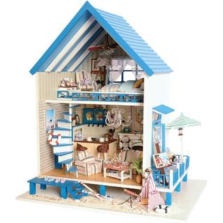 Wooden Kids Doll House With Furniture Staircase LED Lights Fits Barbie Dollhouse