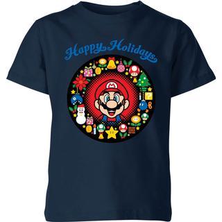 Nintendo Kid's Super Mario Mario Happy Holidays T-shirt - Navy