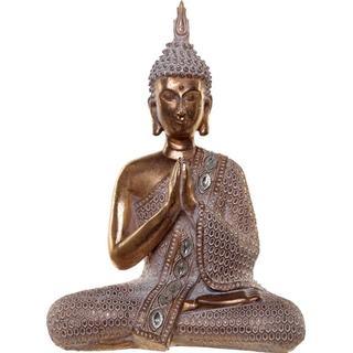 Thai Buddha Gold and White Lotus 28cm Figurine