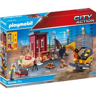Playmobil City Action Mini Excavator with Building Section 70443
