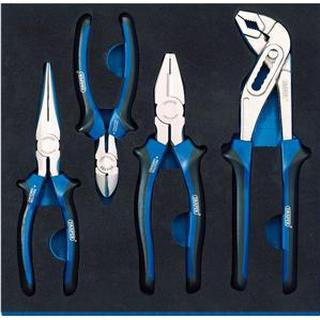 Bahco 63309 Combination Plier, Nipper, Nose Plier, Polygrip Plier Set 4-parts