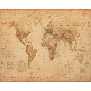 GB Eye World Map Antique Style Mini 40x50cm Posters