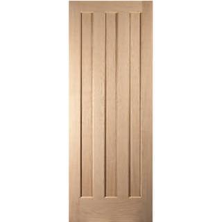 Jeldwen Vertical 3 panel Oak Interior Door L, R (61x198.1cm)