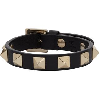 Valentino Rockstud Bracelet - Black/Gold