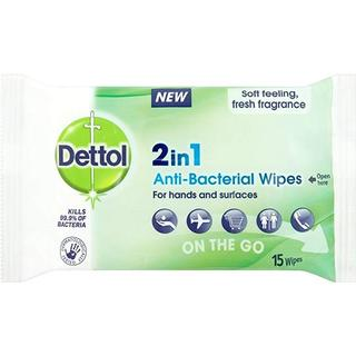 Dettol 2in1 Anti-Bacterial Wipes 15-pack