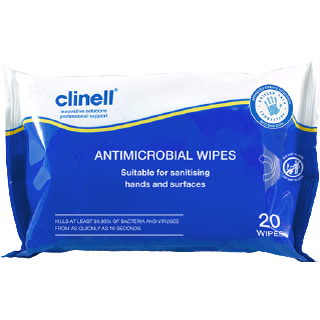 Clinell Antimicrobial Hand & Surface Wipes 20-pack