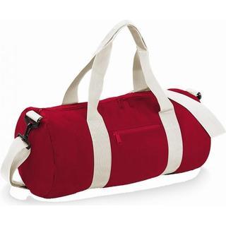 BagBase Plain Varsity Duffle Bag - Classic Red/Off White