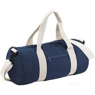 BagBase Plain Varsity Duffle Bag - French Navy/Off White