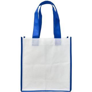 Bullet Contrast Shopping Tote Bag L - White/Blue