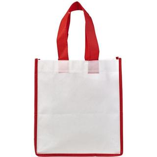 Bullet Contrast Shopping Tote Bag L - White/Red