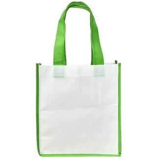 Bullet Contrast Shopping Tote Bag L - White/Green