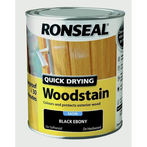 Ronseal Quick Drying Woodstain Black 0.75L