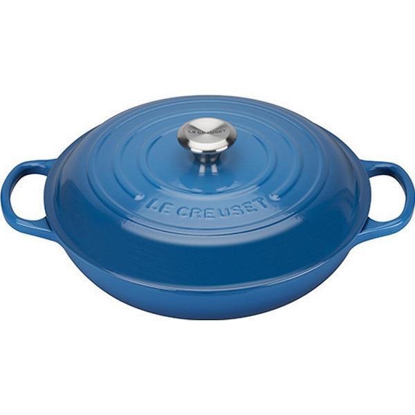 Le Creuset Marseille Blue Signature Shallow Casserole with lid 30cm