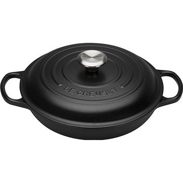 Le Creuset Satin Black Signature Shallow Casserole with lid 26cm