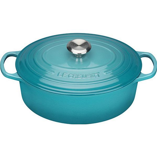Le Creuset Teal Signature Cast Iron Oval Other Pots with lid 29cm