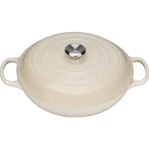 Le Creuset Almond Signature Cast Iron Shallow Casserole with lid 30cm