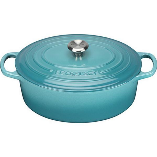 Le Creuset Teal Signature Cast Iron Oval Other Pots with lid 27cm