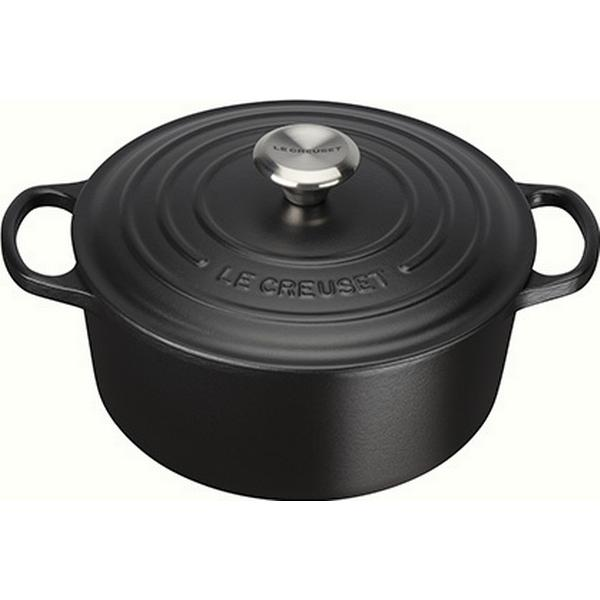 Le Creuset Satin Black Signature Cast Iron Round Other Pots with lid 24cm