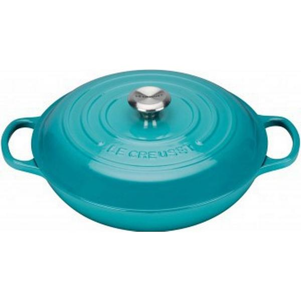 Le Creuset Teal Signature Shallow Casserole with lid 30cm